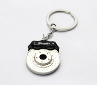 Wholesale new arrived Creative Hot Sale Disc Brake Shape Auto Parts Keychain Key Chain Ring Key Fob Keyring black