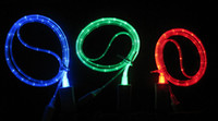 Visible LED Micro USB Flat Charger Cable For Samsung S3 S4 S...