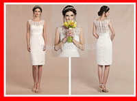 Wholesale 2015 Sexy Sheath Knee Length Short Lace Wedding Dresses With Satin Sash Cap Sleeve See Through Fashion Hot Bridal Gown Custom Made New