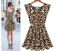 ball mil - New Fashion Women Bohenmia Pleated Wave Beach leopard print mini Dress Lace Strap Princess mil silk Maxi Long Dresses
