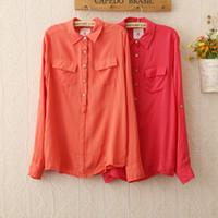 Cheap 517 Real Button Regular Full Shipping Women Soft Long-sleeve Turn-down Collar Shirts 2014 Fashion Womans Pocket s Top Sale