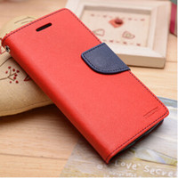 Cheap Mercury Contrast Color Wallet Leather Case with Card Slots Stand For Samsung Galaxy S3 mini i8190 Free Shipping (A0018)