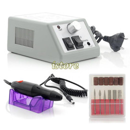 Wholesale 2SETS New Professional Manicure Pedicure Electric Drill Nail Pen Machine Set Kit EU Plug Manicures Equipment