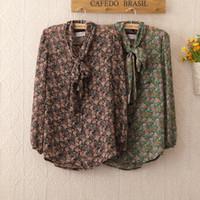 Cheap 2014 504 Spring Freeshipping Full Clothes New Fashion Women Bowknot Chiffon Top Shirts Sleeve Flower Camisas Summer Shirt