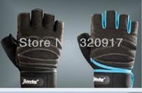 Wholesale 202 gym fitness weight lifting workout men wrist wrap exercise GLOVES black blue M L XL