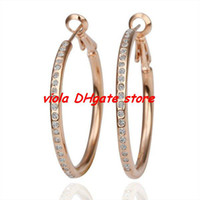 Wholesale 18KGP E085 K Gold Plated Hoop Earrings Fashion Jewelry Nickel Free Rhinestone Made with Austrian Element Crystal