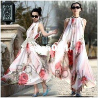 Cheap Wholesale-2013 NEW HOT SELLING!!!Summer Elegant Boho Lotus Leaf Big Hem Chiffon Maxi Flowers Dress Dhlohn DY