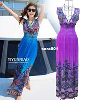 Casual Dresses Women Natural Wholesale-Wholesale Sexy Women V-Neck Summer Floral Boho Beach Sleeveless Maxi Dress Long Sundress XL XXL XXXL
