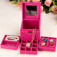 Wholesale Fashion high quality velvet three layers necklace rings etc makeup organizer Cube jewelry display boxes gifts Box