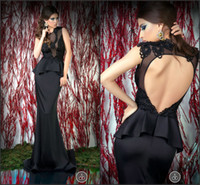 Cheap 2014 High Quality Sexy Black Satin Lace Applique Cap Sleeves Backless Tight Sheath Formal Party Evening Gowns 2014 Prom Dresses RU004