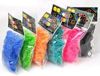 Cheap 2014 loom bands kit diy bracelet children toys solid rainbow loom 300pcs+12 buckle+ crochet cheap price DHL Free