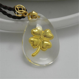 Wholesale jewelry crystal and K gold clover represents good luck for girls boys kids wife and lover fashion pendant lockets charms
