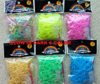 Wholesale GLOW IN DARK DHL free loom bands kit bracelet buckle crochet Fluorescent loom amp Rainbow loom DIY children toy rubber band