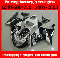 Wholesale 7 gifts ABS Fairing kit for SUZUKI k1 GSXR600 ABS white black motorcycle fairings GSXR SX32