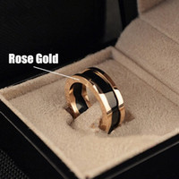 Wholesale Charity Series Top Quality Luxury Brand Style K Rose Gold Plated Titanium Steel Ring women man Fashion Jewelry accessories