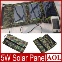 Wholesale DHL free W High efficiency outdoor Folding solar charging bag solar panel charger power bank For iphone S Samsung S5 S4 NOTE MP3