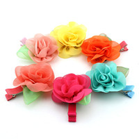 Wholesale 2014 New Fashion baby girls hair clips chiffon flowers hair clips hairpins for kids girls hair accessories