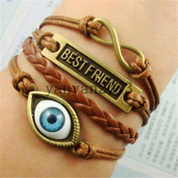 americans best eye - 2014 fashion Jewelry Braided rope best friend Turkey eyes Infinity Synthetic Leather bracelet Multilayer Multicolor