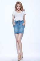 Cheap 2014 new light blue elastic waist hip pockets Twill repair was thin denim skirt