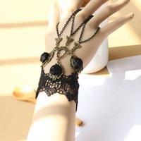 slave bracelets - Whitney houston jewelry Womens Vintage black lace slave bracelet handflower party charm bracelet Adjustable Birthday Party Gift