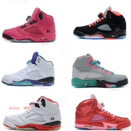 Quality! Retro 5 GS Womens Basketball Shoes Girls Athletic Shoes Pink Valentine Grape Free Shipping size: