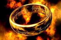 Wholesale cheap The Lord of the Rings K gold plated ring full size titanium steel men women with bead chain
