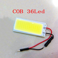 Cheap 50PCS 50MM*20MM 36 SMD COB Chip 36LED Car Interior Light Festoon Dome Lamp Panel Bulb with Festoon & T10 Adapter