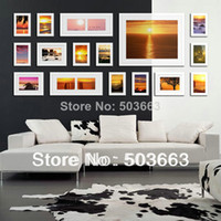 Cheap 2014 Fashion 16 Box White Solid Wood White Color Combination Wall Mounted Picture Photo Frame Art Home Decor L-A51