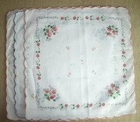 Wholesale LADIES VINTAGE Design COTTON HANKY Rose Flower HANDKERCHIEF with embroidered edge quot