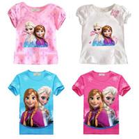 Wholesale 1405z girls blouse kids T shirt tops children brand girls T shirts short sleeve elsa anna frozen t shirts tcqg