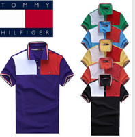 Cheap Free shipping 10 pcs LOT men's fashion lapel stitching cotton pique short sleeve polo shirt 6 color M-XXL
