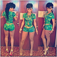 Wholesale green summer celeb shorts rompers women bodysuit bandage bodycon jumpsuits celebrity Keyshia Kaoir sexy party cocktail outfit casual