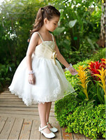 Wholesale Satin And Tulle Sleeveless Flower Girl Dress With Bow