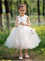 Wholesale Ball Gown Bateau Tea length Satin And Tulle Tutu Dress Flower Girl Dress