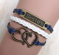 Wholesale 2014 DIY jewelry Vintage Double Heart sister bracelet sister trinkets hand woven multi layer fashion new personalized leather bracelet charm