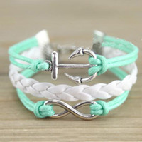 anchor trinkets - DIY jewelry Vintage love infinite infinity bracelet anchor trinkets hand woven multi layer fashion new personalized leather bracelet charm