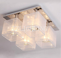 Cheap K9 Crystal Dining Room Ceiling Lamp LED Square Living Room Ceiling Chandelier Light Stainless Steel Lighting Silver Color