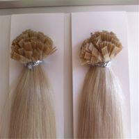 "Cheap Brazilian Deep wave 100g Italian keratin U Flat Tip hair extensions 100s Lot 22"" 30'"" 1g s Human Hair"