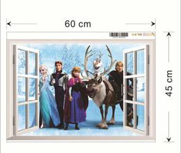 Wholesale Descuento grande Frozen Anna Elsa dibujos animados Wall Stickers Decalques de pared de la película de dibujos animados Decoración para el hogar de los papeles de pared de la habitación de los niños cm
