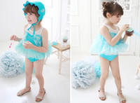 Wholesale New Frozen Elsa Anna Baby Girls Swimwear Beachwear Lovely Swim Suits Lace Rhinestone Girl One piece Bodysuit Trunks Cap Sets C2382