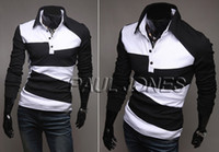 Men Long Sleeve Cotton-Like Grace Karin 2014 Superb JS Collection T-Shirts PJ Mens Shirts Perfect Male Line Long Sleeve Polo 4 Size XS~L CL5325