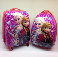 Cheap Fashion Children's Cartoon Frozen Elsa Anna Universal Wheel Board Chassis Suitcase Trolley Luggage Bag Material Impact Strong 16 Inch C2383