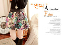 high waisted shorts - 2014 Promotion Hot Sale Korean Style High Waisted Skirts Vintage Flowers Woolen Dresses Joint Short Length Lower Garments Colors Free Size