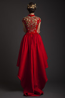 Cheap 2014 Fashion Charming A-Line Red Satin High Neck Embroidery High Low Corset Zipper Short Sleeve Long Prom Dress Party Evening Dress