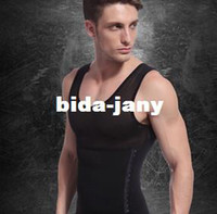 Cheap Wholesale-Fashion 2013 Free Shipping New 1pc White Black Color Men's Vest Tank Top Slimming Shirt Corset Body Shaper Fatty Wholesale