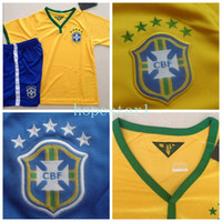 Wholesale Brazil Soccer Jerseys Football Jersey Kids Youth Children Uniforms Kits Clothing Discount World Cup T Shirts Cheap Thailand Custom Home