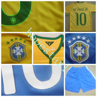Wholesale Brazil Soccer Jerseys Football Jersey Neymar Jr Kids Youth Children Uniforms Kits Clothing Discount World Cup T Shirts Cheap Thailand Custom