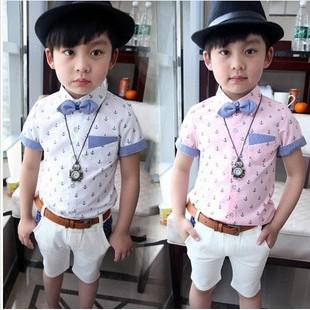 New 2014 Baby Boys Printed Shirt Children Fashion Summer Gentleman ...
