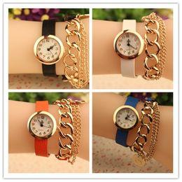 Fashion Quartz Bracelets Watch Leather Wrap Around Chain Bracelet Lady Women Wrist Watch Mix Colors Drop Free Shipping