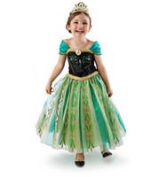 Wholesale In Stock New Style Frozen Dress Snow Queen Princess Elsa Anna Dresses Girls Dresse Pageant Puff Sleeve Dress Lace Gauze Formal Dress C2393